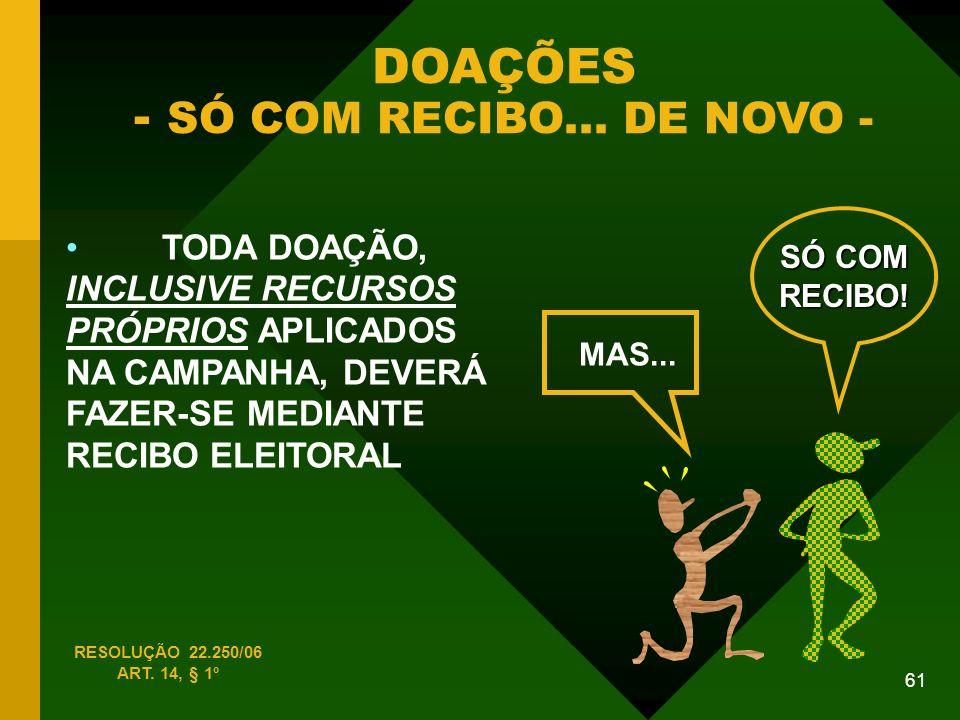 61 DOAÇÕES - SÓ COM RECIBO...DE NOVO - RESOLUÇÃO 22.250/06 ART.