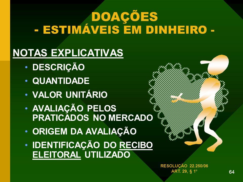 64 NOTAS EXPLICATIVAS DESCRIÇÃO QUANTIDADE VALOR UNITÁRIO AVALIAÇÃO PELOS PRATICADOS NO MERCADO ORIGEM DA AVALIAÇÃO IDENTIFICAÇÃO DO RECIBO ELEITORAL UTILIZADO DOAÇÕES - ESTIMÁVEIS EM DINHEIRO - RESOLUÇÃO 22.250/06 ART.