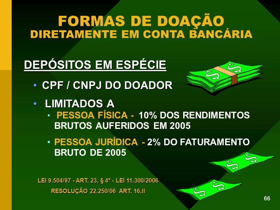 66 FORMAS DE DOAÇÃO DIRETAMENTE EM CONTA BANCÁRIA CPF / CNPJ DO DOADORCPF / CNPJ DO DOADOR LIMITADOS A LIMITADOS A PESSOA FÍSICA - 10% DOS RENDIMENTOS BRUTOS AUFERIDOS EM 2005 PESSOA JURÍDICA - 2% DO FATURAMENTO BRUTO DE 2005 DEPÓSITOS EM ESPÉCIE LEI 9.504/97 - ART.