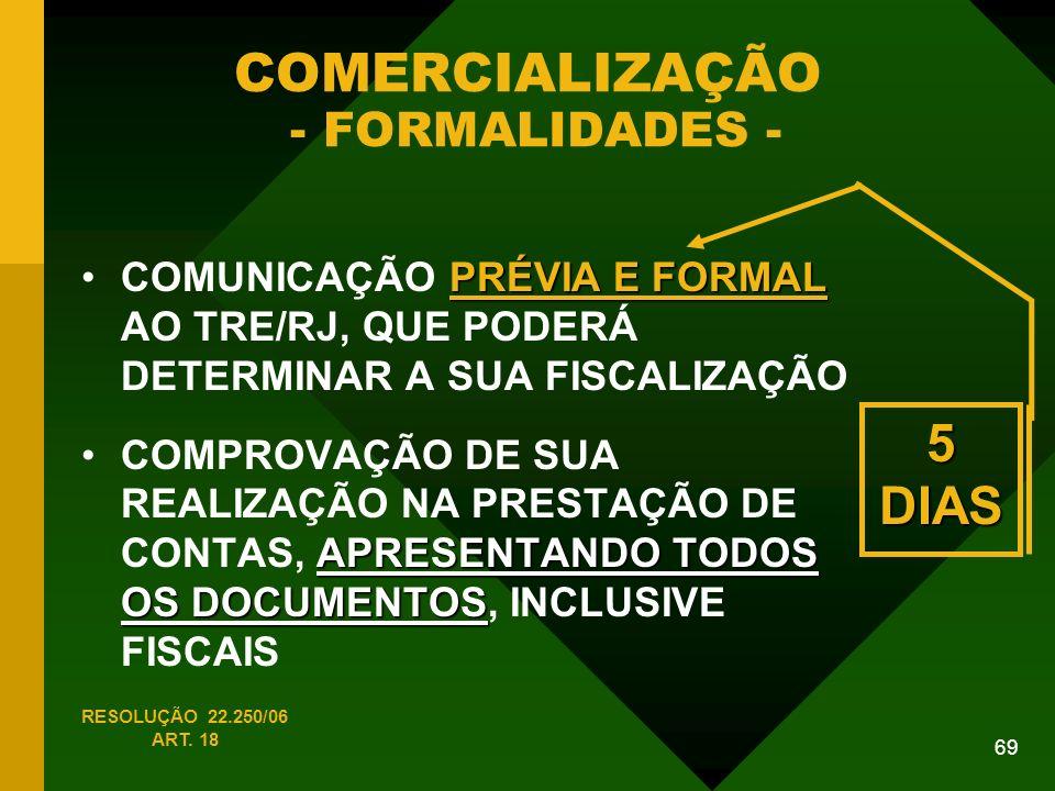69 COMERCIALIZAÇÃO - FORMALIDADES - PRÉVIA E FORMALCOMUNICAÇÃO PRÉVIA E FORMAL AO TRE/RJ, QUE PODERÁ DETERMINAR A SUA FISCALIZAÇÃO APRESENTANDO TODOS OS DOCUMENTOSCOMPROVAÇÃO DE SUA REALIZAÇÃO NA PRESTAÇÃO DE CONTAS, APRESENTANDO TODOS OS DOCUMENTOS, INCLUSIVE FISCAIS 5 DIAS RESOLUÇÃO 22.250/06 ART.