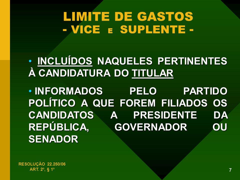 7 LIMITE DE GASTOS - VICE E SUPLENTE - INCLUÍDOS NAQUELES PERTINENTES À CANDIDATURA DO TITULAR INCLUÍDOS NAQUELES PERTINENTES À CANDIDATURA DO TITULAR INFORMADOS PELO PARTIDO POLÍTICO A QUE FOREM FILIADOS OS CANDIDATOS A PRESIDENTE DA REPÚBLICA, GOVERNADOR OU SENADOR INFORMADOS PELO PARTIDO POLÍTICO A QUE FOREM FILIADOS OS CANDIDATOS A PRESIDENTE DA REPÚBLICA, GOVERNADOR OU SENADOR RESOLUÇÃO 22.250/06 ART.