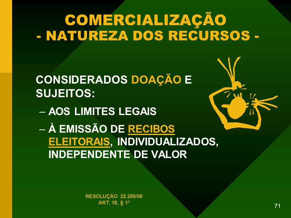 71 COMERCIALIZAÇÃO - NATUREZA DOS RECURSOS - CONSIDERADOS DOAÇÃO E SUJEITOS: –AOS LIMITES LEGAIS –À EMISSÃO DE RECIBOS ELEITORAIS, INDIVIDUALIZADOS, INDEPENDENTE DE VALOR RESOLUÇÃO 22.250/06 ART.