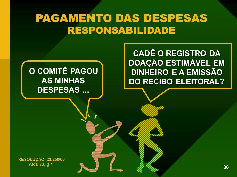86 PAGAMENTO DAS DESPESAS RESPONSABILIDADE O COMITÊ PAGOU AS MINHAS DESPESAS...