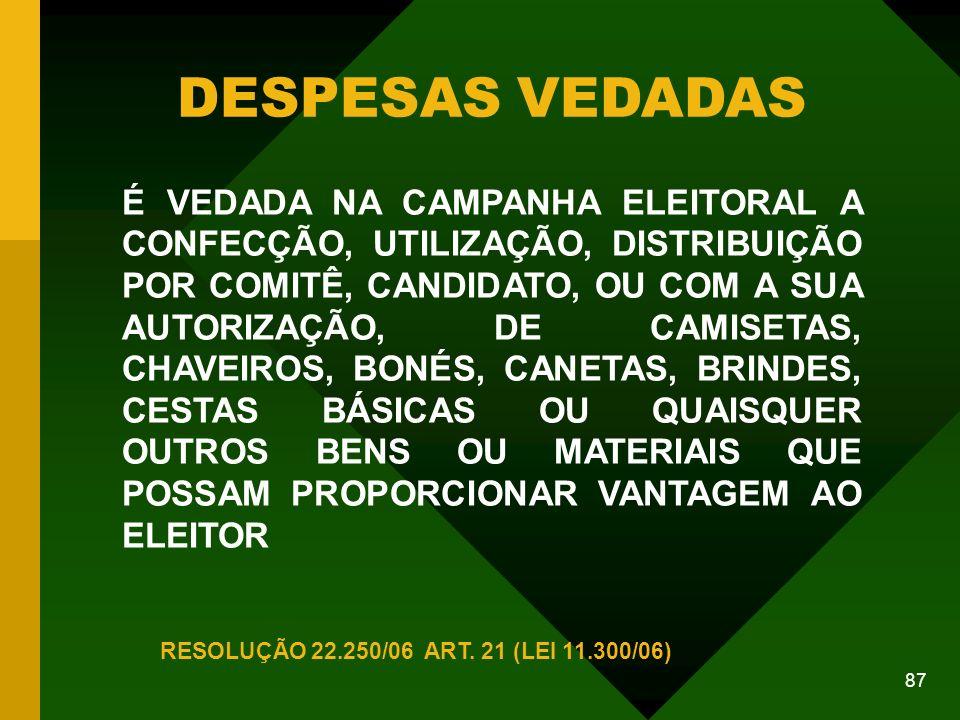 87 DESPESAS VEDADAS RESOLUÇÃO 22.250/06 ART.