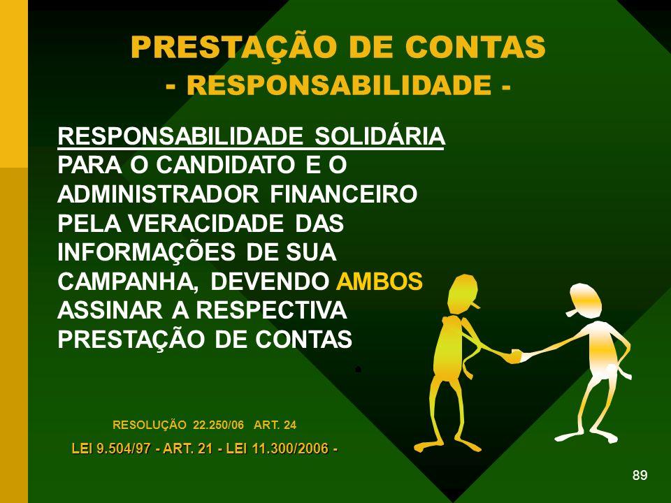 89 PRESTAÇÃO DE CONTAS - RESPONSABILIDADE - RESPONSABILIDADE SOLIDÁRIA PARA O CANDIDATO E O ADMINISTRADOR FINANCEIRO PELA VERACIDADE DAS INFORMAÇÕES DE SUA CAMPANHA, DEVENDO AMBOS ASSINAR A RESPECTIVA PRESTAÇÃO DE CONTAS RESOLUÇÃO 22.250/06 ART.