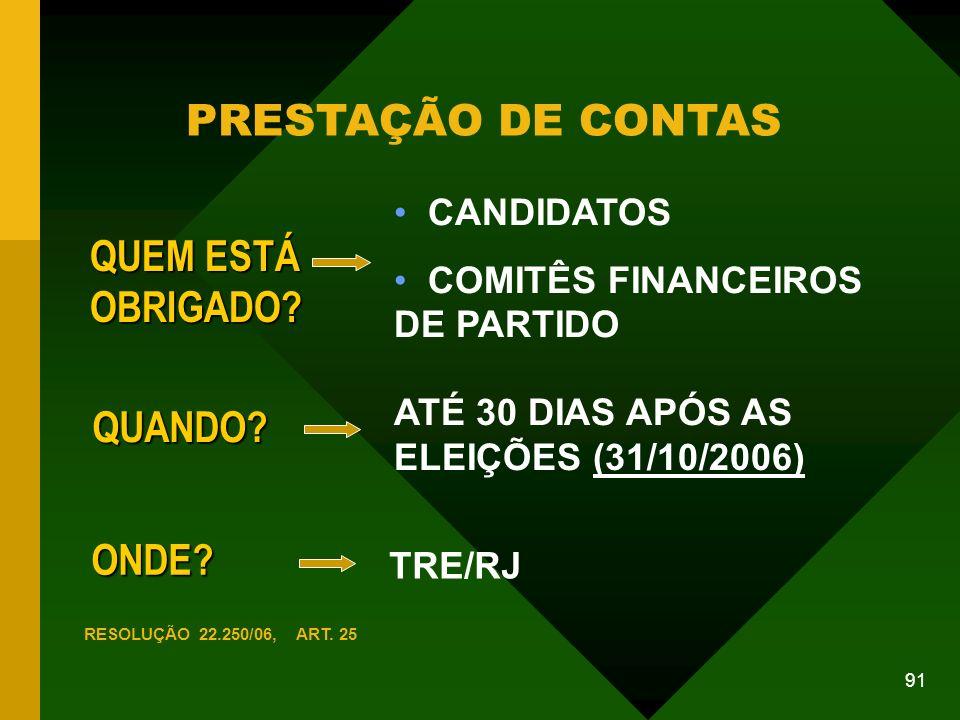91 PRESTAÇÃO DE CONTAS ONDE.TRE/RJ QUEM ESTÁ OBRIGADO.
