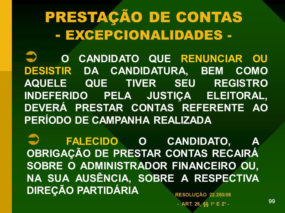 99 PRESTAÇÃO DE CONTAS - EXCEPCIONALIDADES - O CANDIDATO QUE RENUNCIAR OU DESISTIR DA CANDIDATURA, BEM COMO AQUELE QUE TIVER SEU REGISTRO INDEFERIDO PELA JUSTIÇA ELEITORAL, DEVERÁ PRESTAR CONTAS REFERENTE AO PERÍODO DE CAMPANHA REALIZADA FALECIDO O CANDIDATO, A OBRIGAÇÃO DE PRESTAR CONTAS RECAIRÁ SOBRE O ADMINISTRADOR FINANCEIRO OU, NA SUA AUSÊNCIA, SOBRE A RESPECTIVA DIREÇÃO PARTIDÁRIA RESOLUÇÃO 22.250/06 - ART.