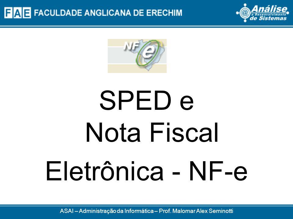 ASAI – Administração da Informática – Prof. Malomar Alex Seminotti SPED e Nota Fiscal Eletrônica - NF-e