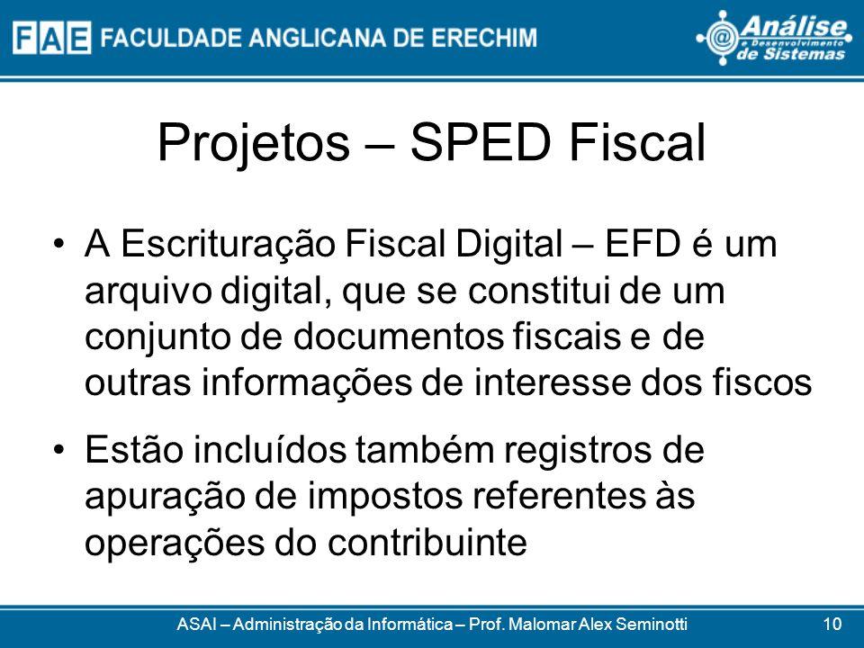 Projetos – SPED Fiscal A Escrituração Fiscal Digital – EFD é um arquivo digital, que se constitui de um conjunto de documentos fiscais e de outras inf