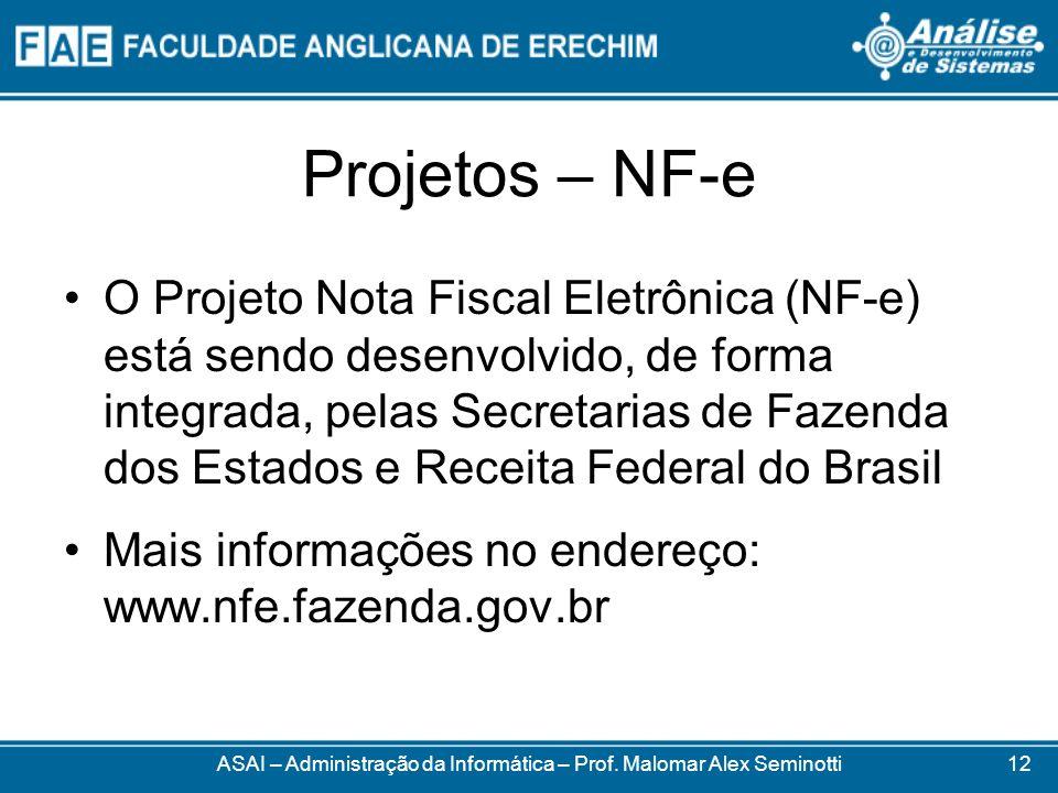 Projetos – NF-e O Projeto Nota Fiscal Eletrônica (NF-e) está sendo desenvolvido, de forma integrada, pelas Secretarias de Fazenda dos Estados e Receit