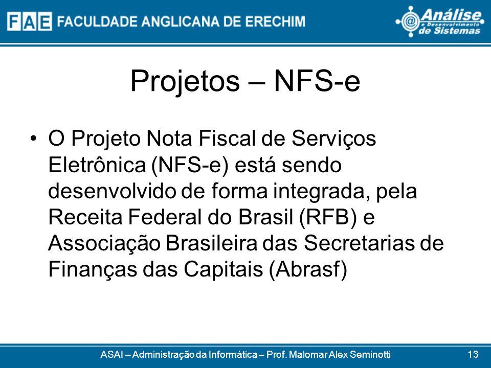 Projetos – NFS-e O Projeto Nota Fiscal de Serviços Eletrônica (NFS-e) está sendo desenvolvido de forma integrada, pela Receita Federal do Brasil (RFB)