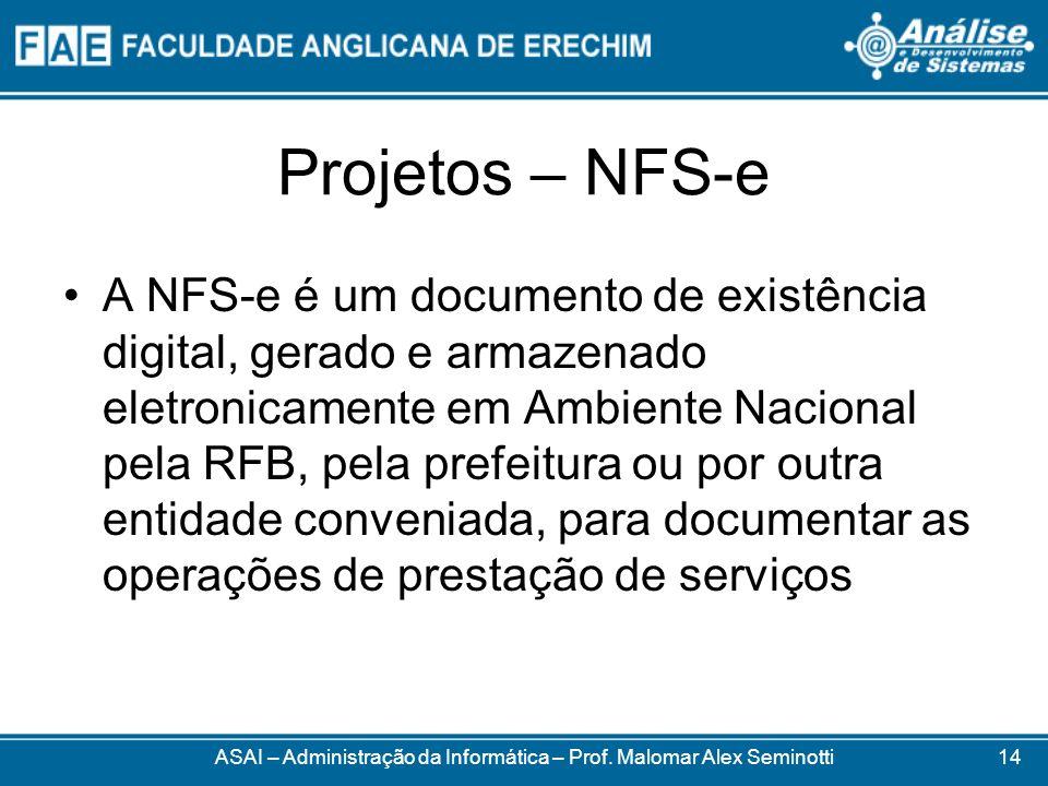 Projetos – NFS-e A NFS-e é um documento de existência digital, gerado e armazenado eletronicamente em Ambiente Nacional pela RFB, pela prefeitura ou p
