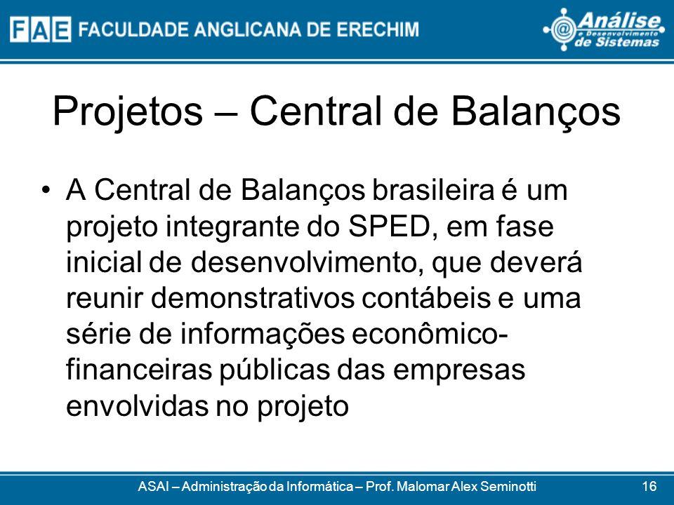 Projetos – Central de Balanços A Central de Balanços brasileira é um projeto integrante do SPED, em fase inicial de desenvolvimento, que deverá reunir
