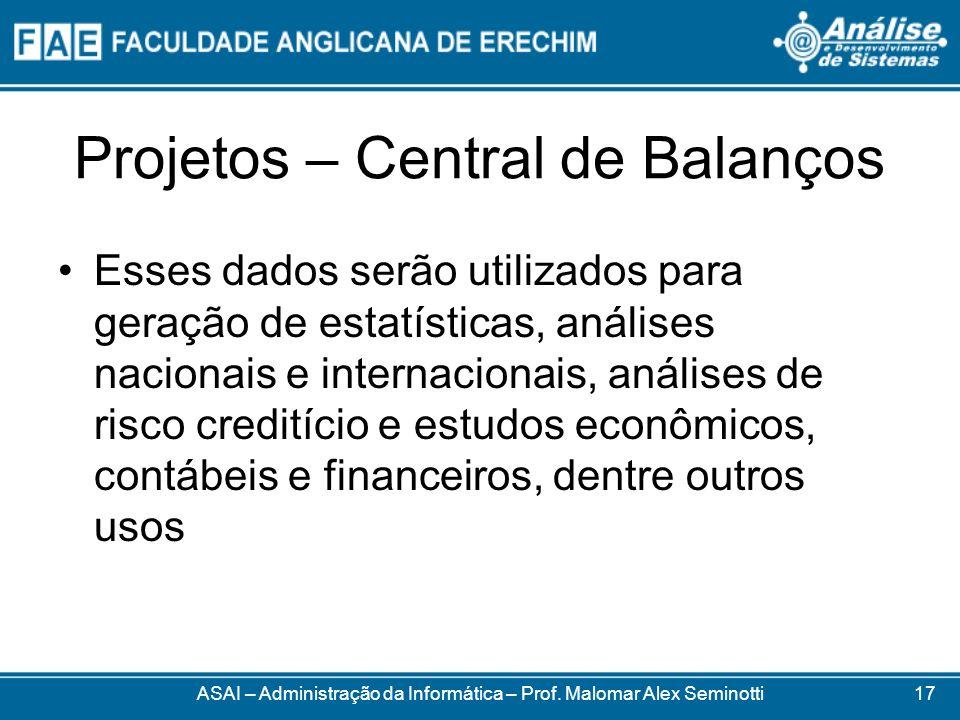 Projetos – Central de Balanços Esses dados serão utilizados para geração de estatísticas, análises nacionais e internacionais, análises de risco credi