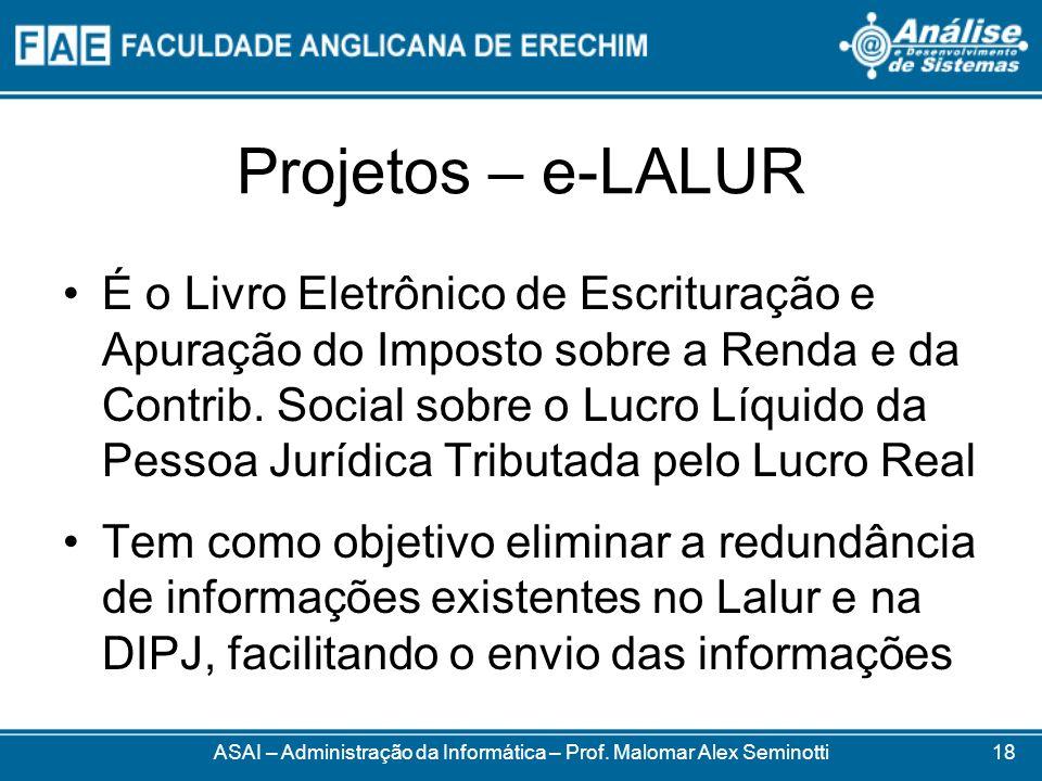 Projetos – e-LALUR É o Livro Eletrônico de Escrituração e Apuração do Imposto sobre a Renda e da Contrib. Social sobre o Lucro Líquido da Pessoa Juríd