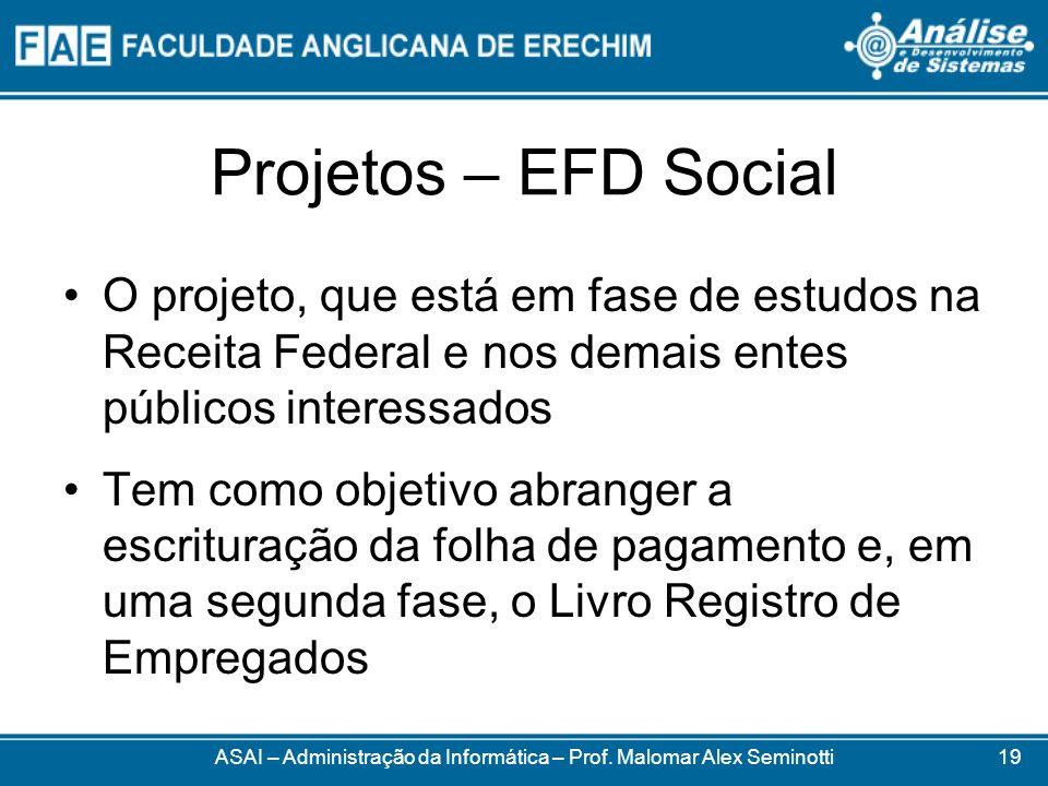 Projetos – EFD Social O projeto, que está em fase de estudos na Receita Federal e nos demais entes públicos interessados Tem como objetivo abranger a