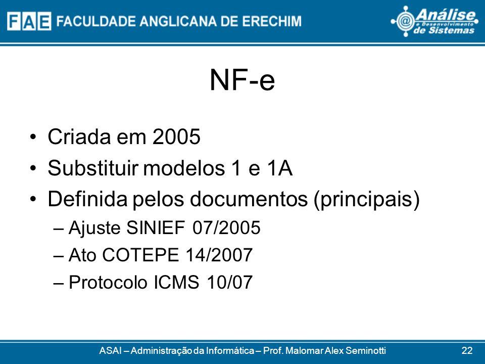 NF-e Criada em 2005 Substituir modelos 1 e 1A Definida pelos documentos (principais) –Ajuste SINIEF 07/2005 –Ato COTEPE 14/2007 –Protocolo ICMS 10/07