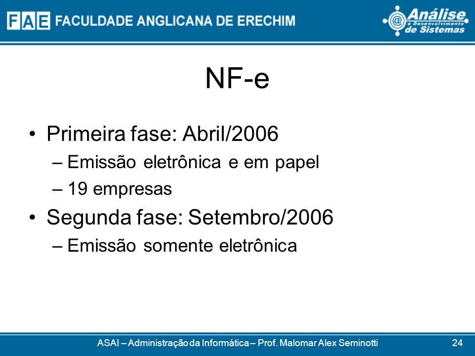 NF-e Primeira fase: Abril/2006 –Emissão eletrônica e em papel –19 empresas Segunda fase: Setembro/2006 –Emissão somente eletrônica ASAI – Administraçã