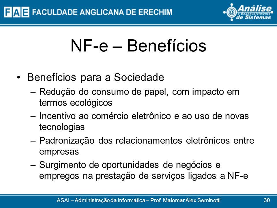 NF-e – Benefícios Benefícios para a Sociedade –Redução do consumo de papel, com impacto em termos ecológicos –Incentivo ao comércio eletrônico e ao us