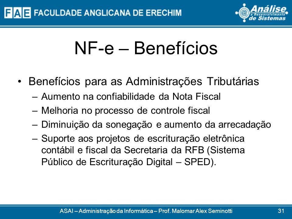 NF-e – Benefícios Benefícios para as Administrações Tributárias –Aumento na confiabilidade da Nota Fiscal –Melhoria no processo de controle fiscal –Di