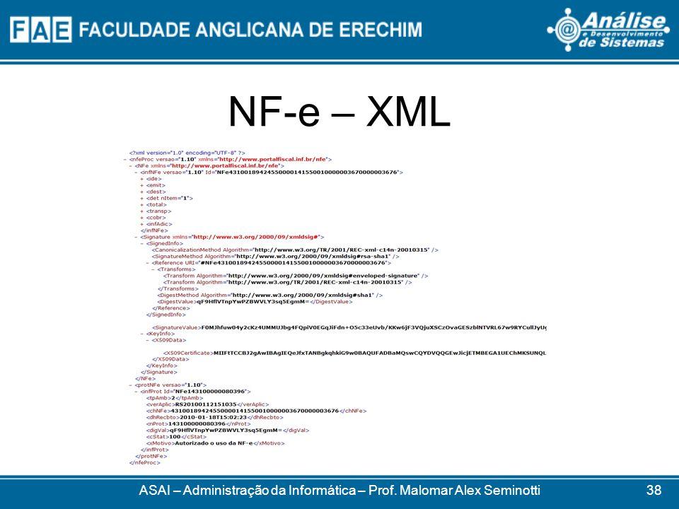NF-e – XML ASAI – Administração da Informática – Prof. Malomar Alex Seminotti38