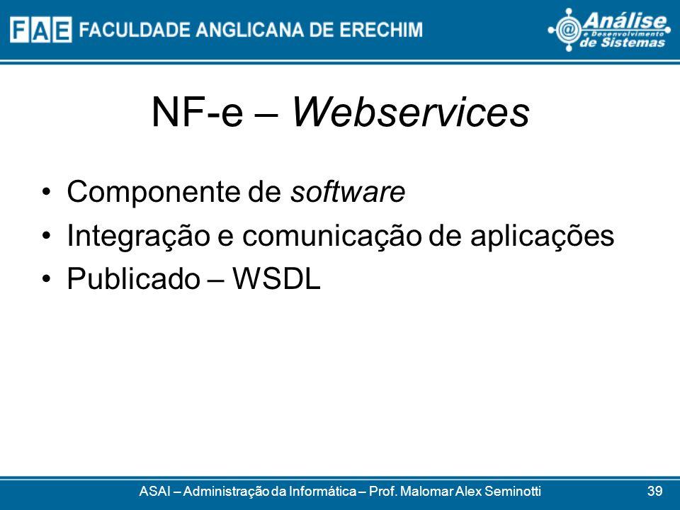 NF-e – Webservices ASAI – Administração da Informática – Prof. Malomar Alex Seminotti Componente de software Integração e comunicação de aplicações Pu