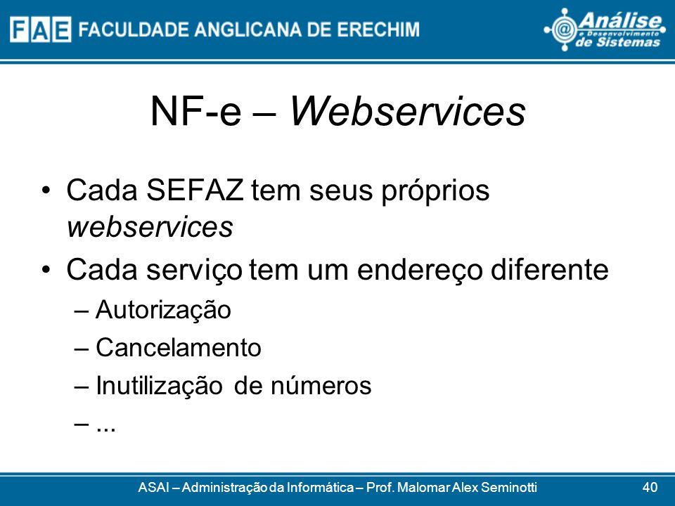NF-e – Webservices ASAI – Administração da Informática – Prof. Malomar Alex Seminotti Cada SEFAZ tem seus próprios webservices Cada serviço tem um end