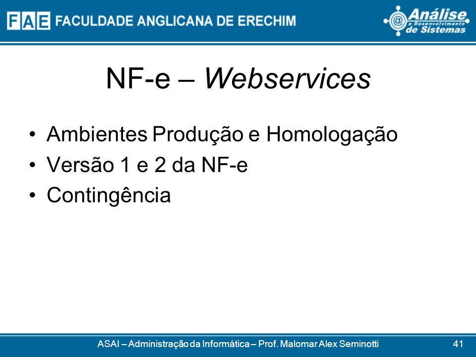 NF-e – Webservices ASAI – Administração da Informática – Prof. Malomar Alex Seminotti Ambientes Produção e Homologação Versão 1 e 2 da NF-e Contingênc
