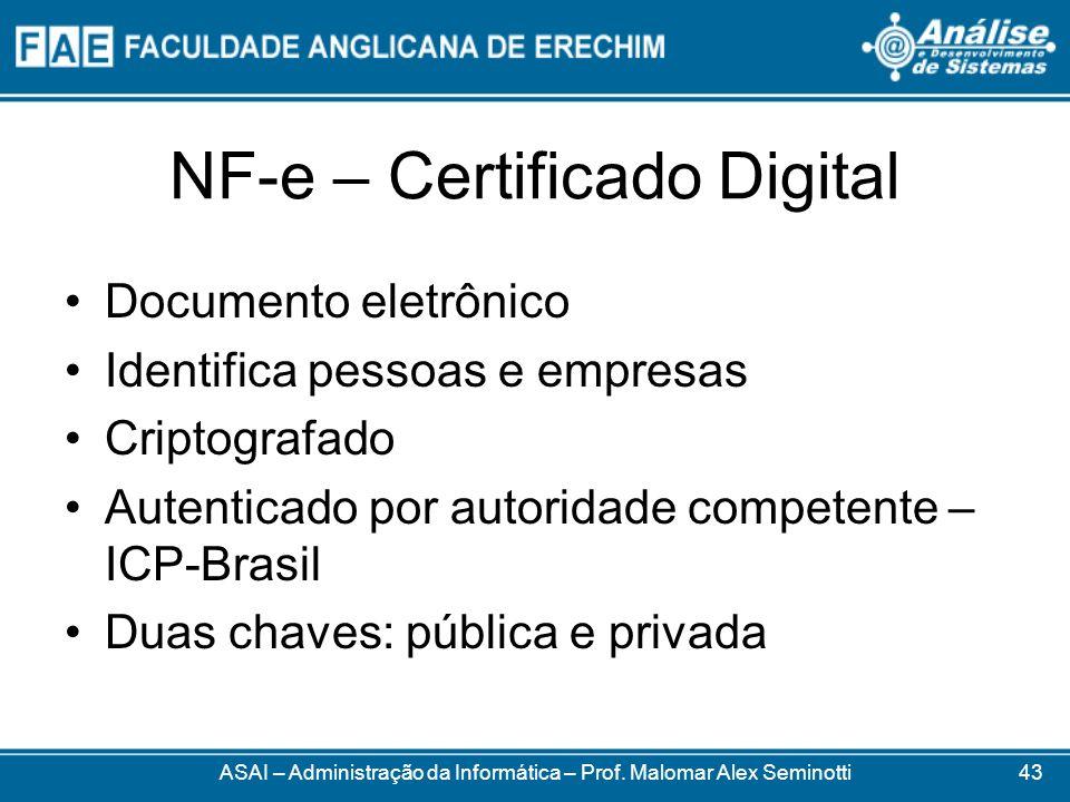 NF-e – Certificado Digital ASAI – Administração da Informática – Prof. Malomar Alex Seminotti Documento eletrônico Identifica pessoas e empresas Cript