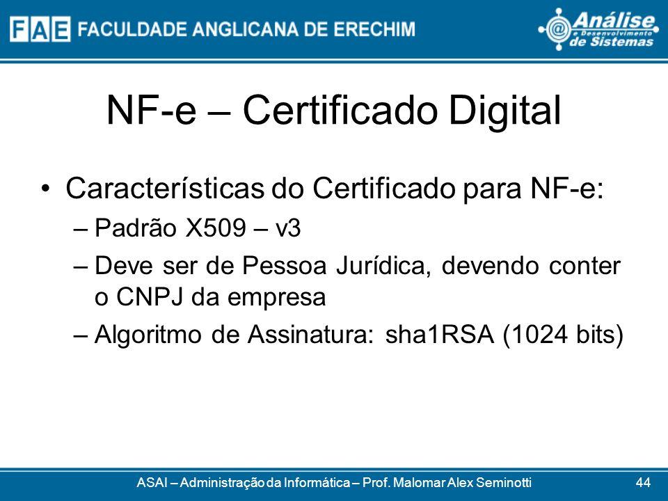 NF-e – Certificado Digital ASAI – Administração da Informática – Prof. Malomar Alex Seminotti Características do Certificado para NF-e: –Padrão X509 –