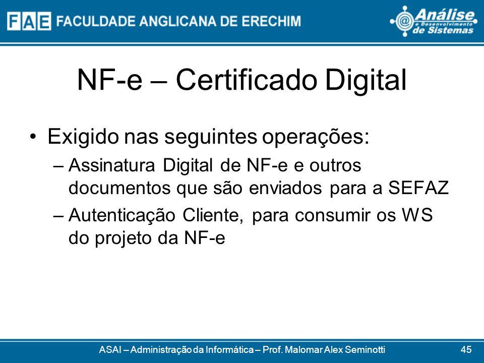 NF-e – Certificado Digital ASAI – Administração da Informática – Prof. Malomar Alex Seminotti Exigido nas seguintes operações: –Assinatura Digital de