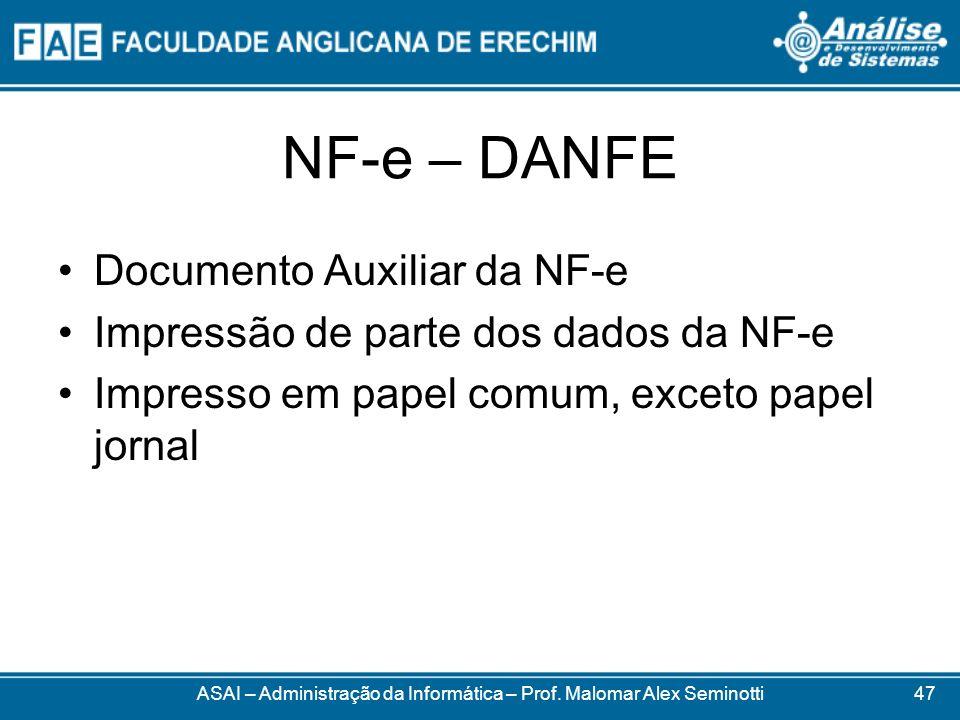 NF-e – DANFE ASAI – Administração da Informática – Prof. Malomar Alex Seminotti Documento Auxiliar da NF-e Impressão de parte dos dados da NF-e Impres