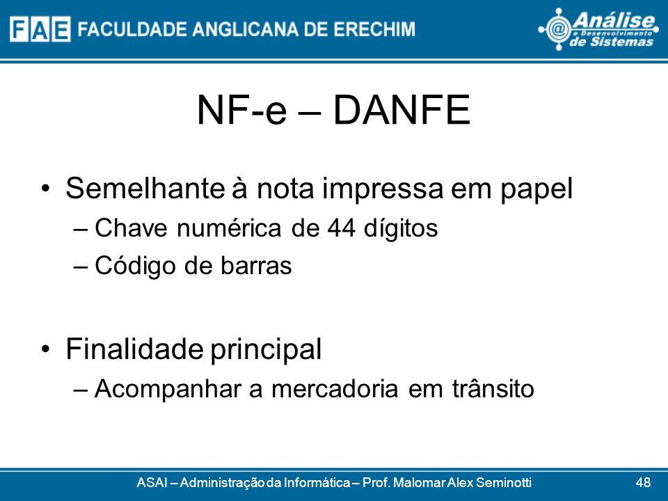 NF-e – DANFE ASAI – Administração da Informática – Prof. Malomar Alex Seminotti Semelhante à nota impressa em papel –Chave numérica de 44 dígitos –Cód