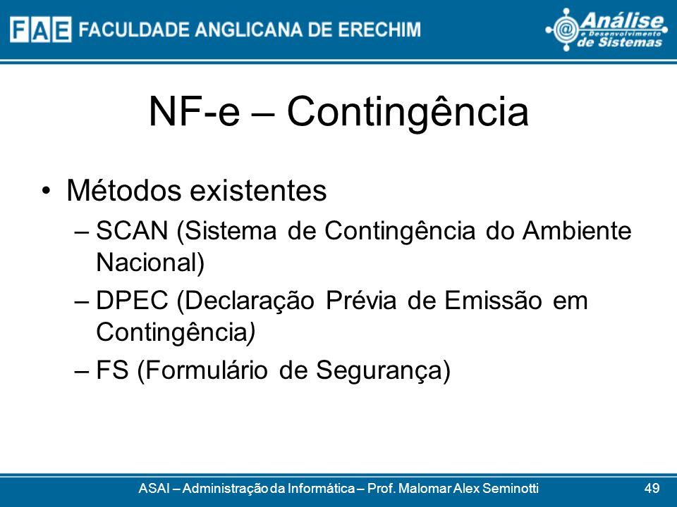NF-e – Contingência ASAI – Administração da Informática – Prof. Malomar Alex Seminotti Métodos existentes –SCAN (Sistema de Contingência do Ambiente N