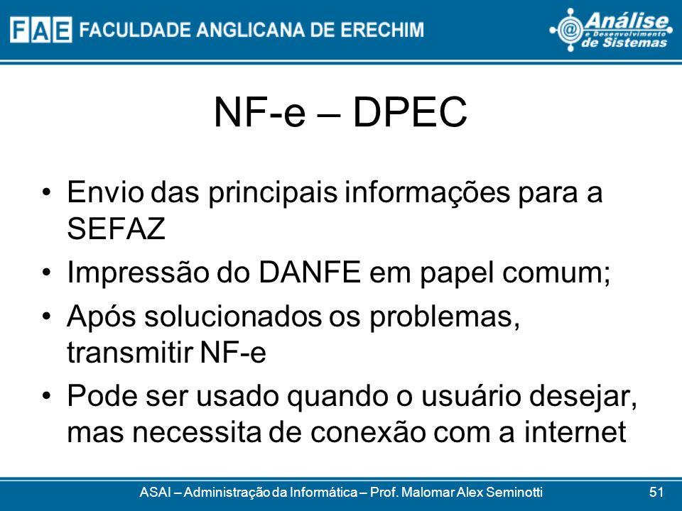 NF-e – DPEC ASAI – Administração da Informática – Prof. Malomar Alex Seminotti Envio das principais informações para a SEFAZ Impressão do DANFE em pap