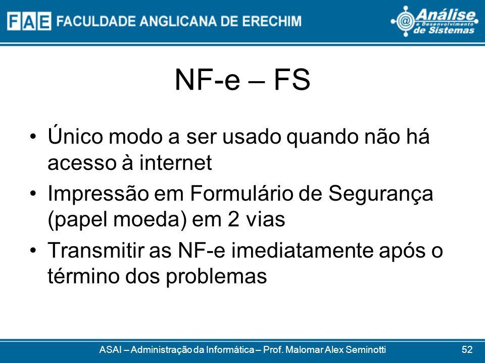 NF-e – FS ASAI – Administração da Informática – Prof. Malomar Alex Seminotti Único modo a ser usado quando não há acesso à internet Impressão em Formu