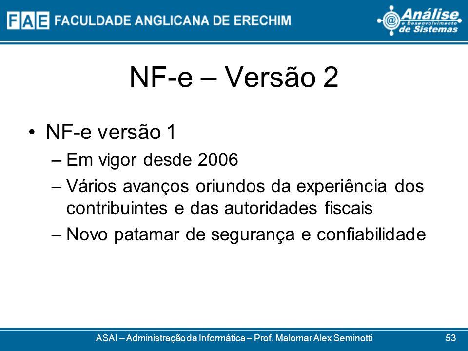 NF-e – Versão 2 ASAI – Administração da Informática – Prof. Malomar Alex Seminotti NF-e versão 1 –Em vigor desde 2006 –Vários avanços oriundos da expe