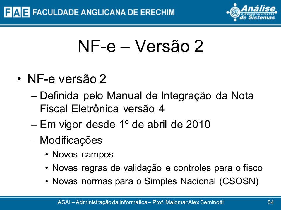 NF-e – Versão 2 ASAI – Administração da Informática – Prof. Malomar Alex Seminotti NF-e versão 2 –Definida pelo Manual de Integração da Nota Fiscal El