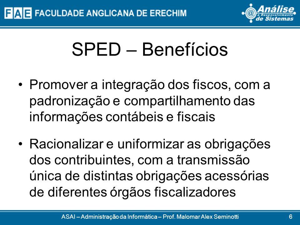 SPED – Benefícios Promover a integração dos fiscos, com a padronização e compartilhamento das informações contábeis e fiscais Racionalizar e uniformiz