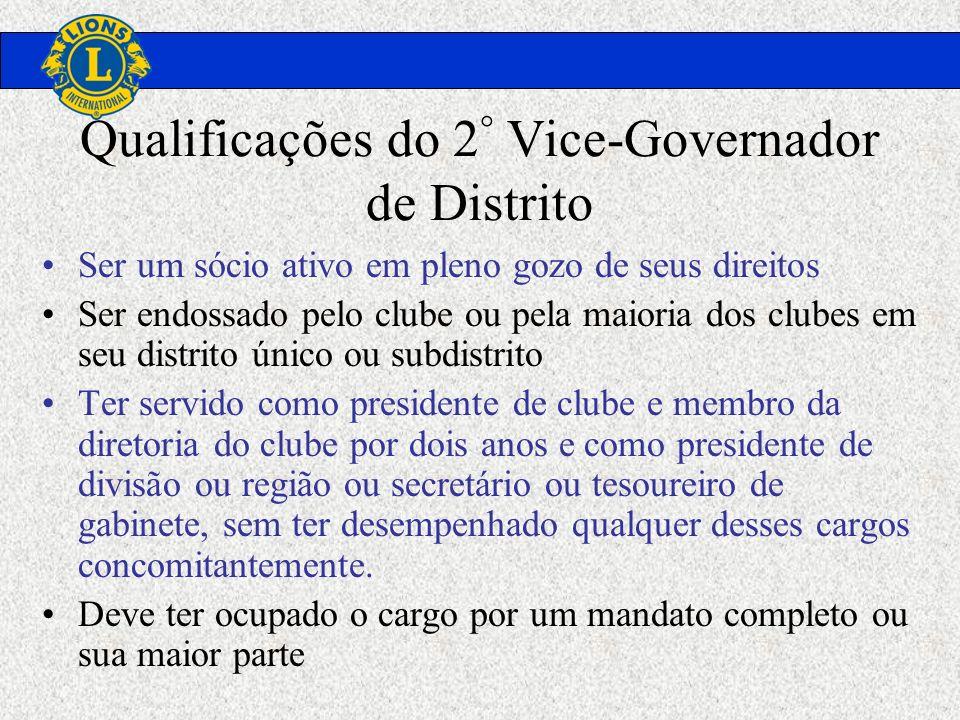 Qualificações do 2 ° Vice-Governador de Distrito Ser um sócio ativo em pleno gozo de seus direitos Ser endossado pelo clube ou pela maioria dos clubes