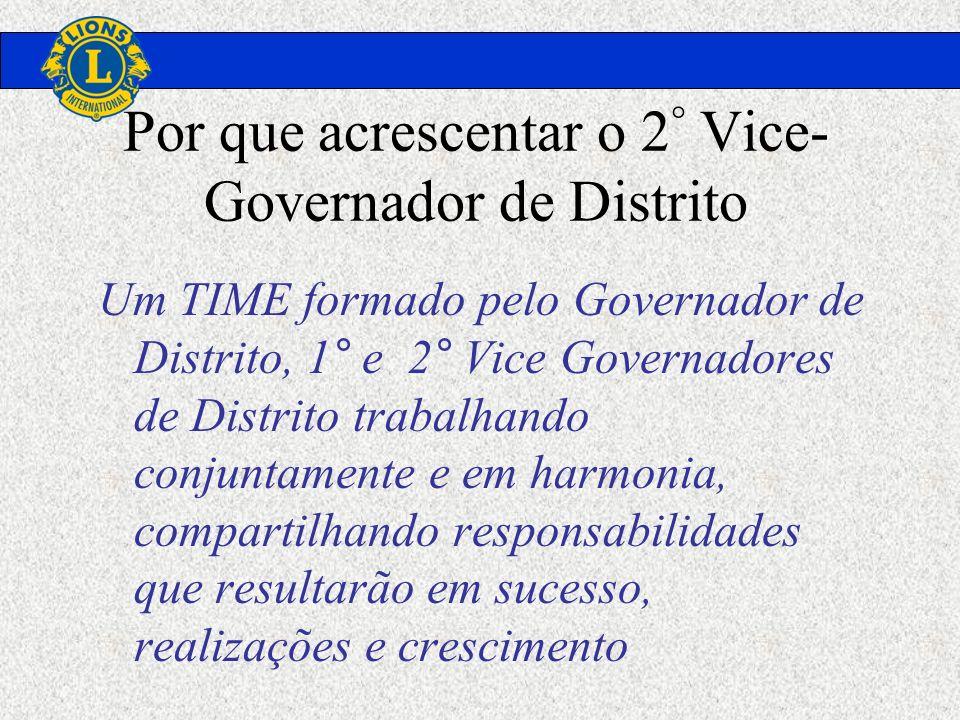 Por que acrescentar o 2 ° Vice- Governador de Distrito Um TIME formado pelo Governador de Distrito, 1° e 2° Vice Governadores de Distrito trabalhando