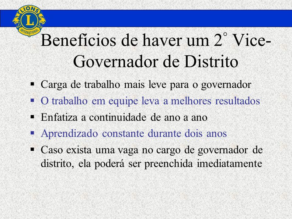 Benefícios de haver um 2 ° Vice- Governador de Distrito Carga de trabalho mais leve para o governador O trabalho em equipe leva a melhores resultados