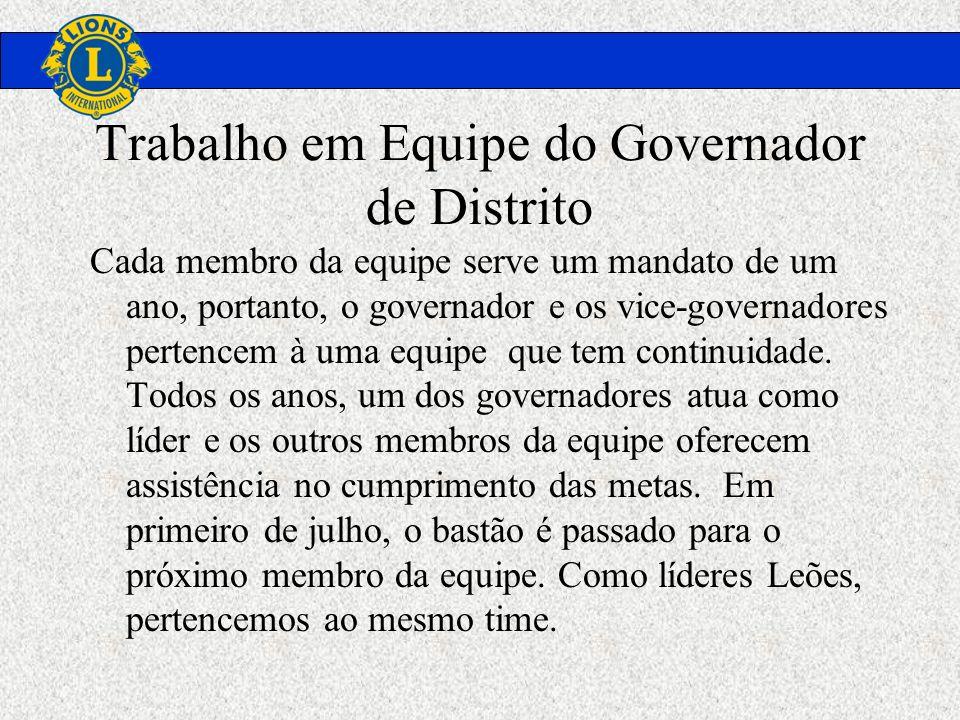 Trabalho em Equipe do Governador de Distrito Cada membro da equipe serve um mandato de um ano, portanto, o governador e os vice-governadores pertencem