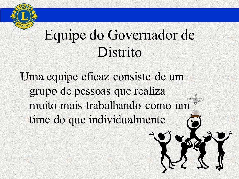 Equipe do Governador de Distrito Uma equipe eficaz consiste de um grupo de pessoas que realiza muito mais trabalhando como um time do que individualme