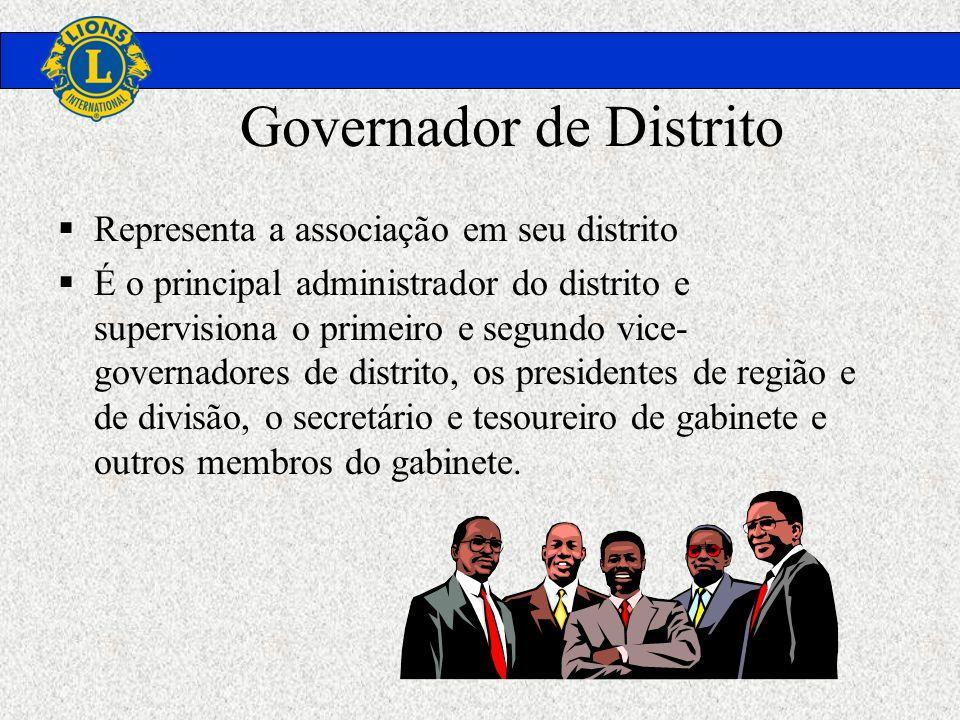 Governador de Distrito Representa a associação em seu distrito É o principal administrador do distrito e supervisiona o primeiro e segundo vice- gover