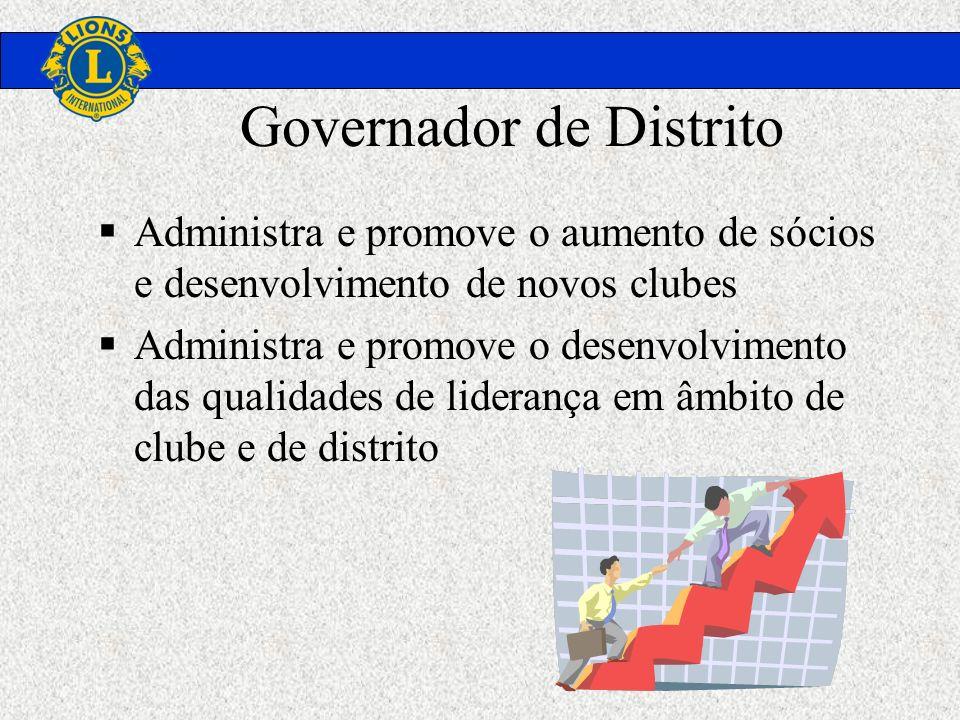 Governador de Distrito Administra e promove o aumento de sócios e desenvolvimento de novos clubes Administra e promove o desenvolvimento das qualidade
