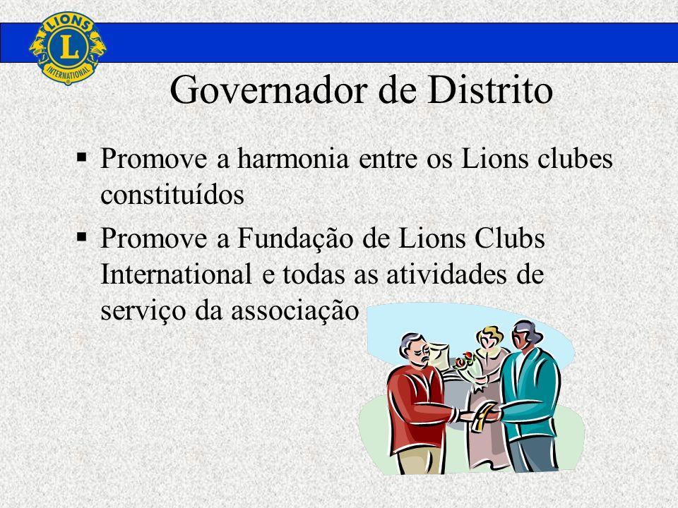 Governador de Distrito Promove a harmonia entre os Lions clubes constituídos Promove a Fundação de Lions Clubs International e todas as atividades de