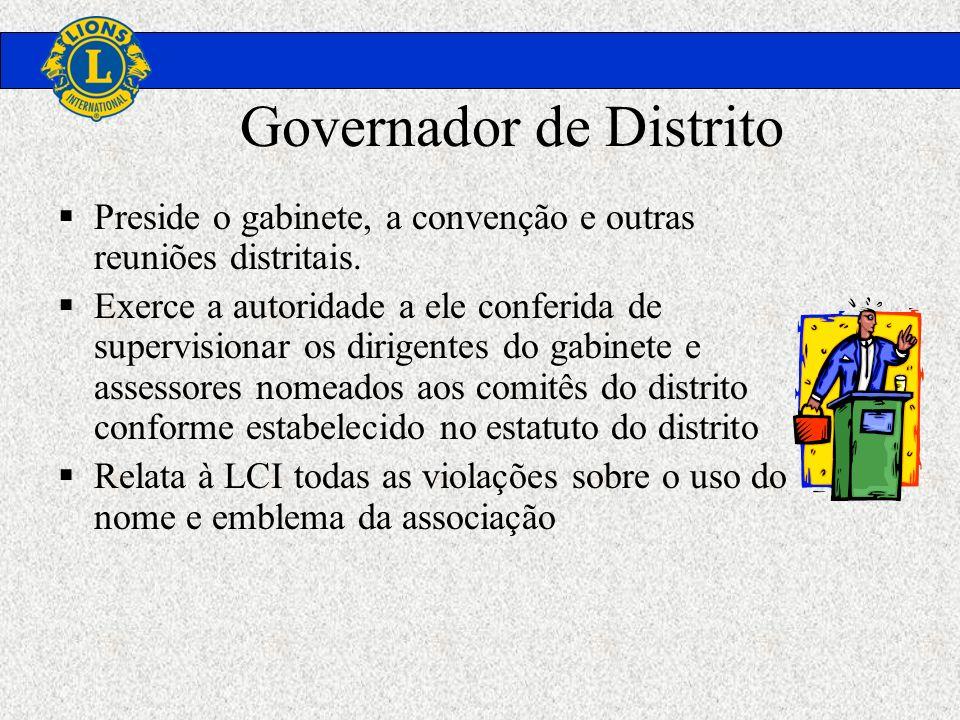 Governador de Distrito Preside o gabinete, a convenção e outras reuniões distritais. Exerce a autoridade a ele conferida de supervisionar os dirigente