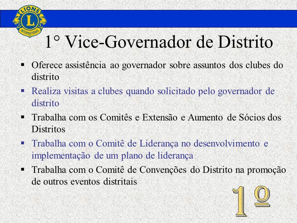 1° Vice-Governador de Distrito Oferece assistência ao governador sobre assuntos dos clubes do distrito Realiza visitas a clubes quando solicitado pelo