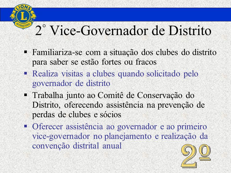 2 ° Vice-Governador de Distrito Familiariza-se com a situação dos clubes do distrito para saber se estão fortes ou fracos Realiza visitas a clubes qua